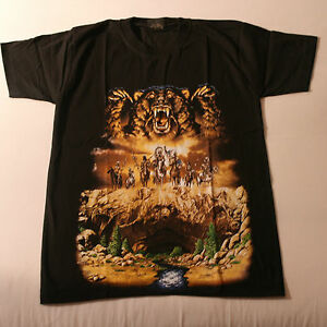 T.Shirt With Bear And Indians Color In Front Black White At Back Size S XL XXL