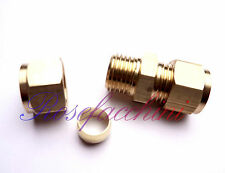 "10mm =3/8"" BRASS STRAIGHT COMPRESSION CONNECTOR JOIN LPG GAS PIPE FITTING OLIVES"