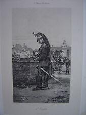Grande Estampe originale  Berne Bellecour  L'Estafette Soldat Militaire 1888