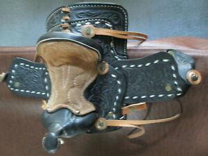 Western Miniature Tooled Black Leather Novelty Horse Saddle, Hand Crafted
