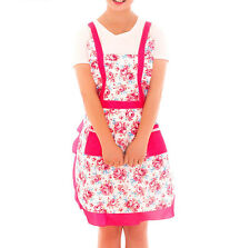 Vintage Style Country Roses Micro Peach Pockets Pinafore Apron Lined Pink