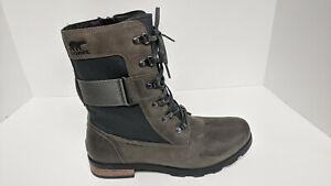 Sorel Emelie Conquest Combat Boots, Quarry, Women's 10 M