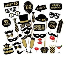 36PCS 60th Sixty Old Year Birthday Party Supplies Masks Favor Photo Booth Props