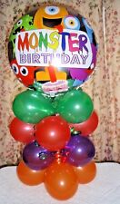 """18"""" FOIL BALLOON TABLE DISPLAY DECOR  AIR FILL - NO HELIUM - MONSTER BIRTHDAY"""