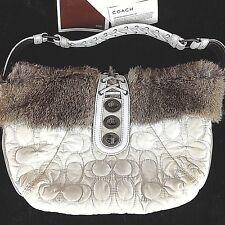 Coach Signature Quilted Handbag Rabbit Fur Hobo Leather Turnlock Purse