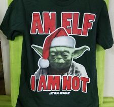 Star Wars Holiday Christmas Yoda in Santa Hat - An Elf I Am Not T Shirt S