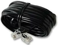 15m RJ11 - RJ11 4 Pin Fully Wired High Speed Broadband ADSL Cable Black UK
