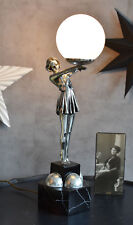 Art Deco style table lamp figurative dancer 20s glass lampshade woman sculpture