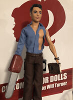 EVIL DEAD 2 Ash CUSTOM HORROR DOLL with Chainsaw and Necronomicon OOAK