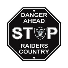 """New Oakland Raiders Country Danger Ahead STOP Sign 12""""X12"""" Octagon Made in USA"""