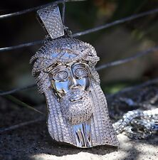 White Gold Fully Iced Out Large Jesus Piece Pendant And Franco Chain Set