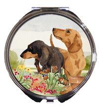 DACHSHUND SHORT HAIRED DOG HANDBAG COMPACT MIRROR WATERCOLOUR PRINT SANDRA COEN