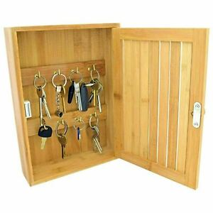 Bamboo Key Rack Box Storage Cabinet Brackets Wooden Wall Mounted Porch Cupboard