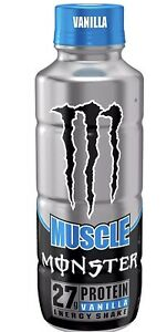 Muscle Monster Vanilla Energy Shake, Protein + Energy Drink, 15 ounce (12 Pack)