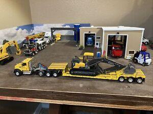 1/64 Scale Mac, Yellow With Yellow Low Boy, Volvo EC 140 E Excavator, Custom