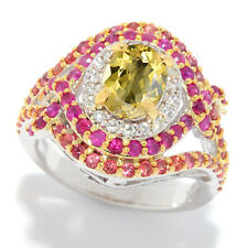 Victoria Wieck 2.59ctw Oval Cut Yellow Beryl & Multi Gemstone Triple Halo Ring
