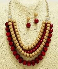 Red and Tan Beaded Necklace Set