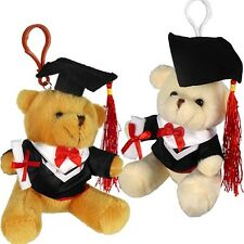 Plush Graduation Teddy Bear Keychains w/ Zipper Assorted Colors (Pack of 12X)