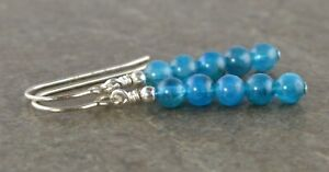 Tiny Ocean Blue Apatite Gemstone & Sterling Silver Drop Earrings with Gift Box