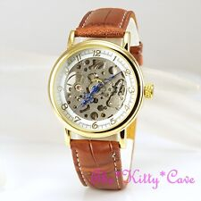 Gold Plated Mechanical Skeleton Steampunk Unisex Tan Leather Windup Watch Hollow