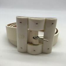 Escada White Leather Square Buckle Belt Size 38
