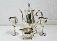 Vintage Grenadie silver plated coffee pot and milk jug with two metal wine cups