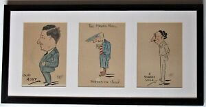 Original ink and watercolour cartoon drawings, 1930, initialled RH, framed
