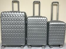 Suitcase 4Wheel Spinner Hard Shell Luggage Trolley Cabin Case Diamond Design