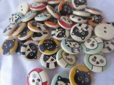 15mm Round Wooden Cat Buttons 2 Hole Assorted Designs in Packs of 5, 10 or 20