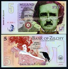 Mujand Republic 5 Zilchy, 2015, UNC > Edgar Allan Poe - American Writers POLYMER