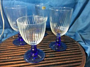 Cristal D'Arques Country Manor Cobalt Blue Stem Optic Bowl  3 ice tea 1 water