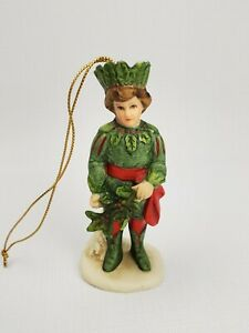 Vintage 1987 Schmid Shackman Collection Bisque Holly King Ornament/Figurine