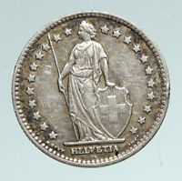 1931 B SWITZERLAND HELVETIA Symbolizes SWISS Nation SILVER 1 Franc Coin i91017