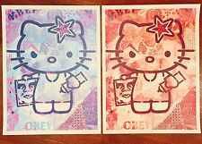 """Hello Kitty Print Set (2) Shepard Fairey Art -Limited 18x24"""" OBEY We the People"""