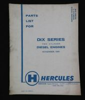 GENUINE HERCULES DIX DIXB DIXC 2-CYLINDER DIESEL ENGINE PARTS CATALOG MANUAL