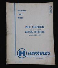 GENUINE HERCULES DIX DIXB DIXC 2-CYLINDER DIESEL ENGINE PARTS CATALOG MANUAL