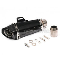"""New 13-3/5"""" Full Carbon Look Motorcycle Exhaust Kit 1.5""""-2"""" Performance Muffler"""