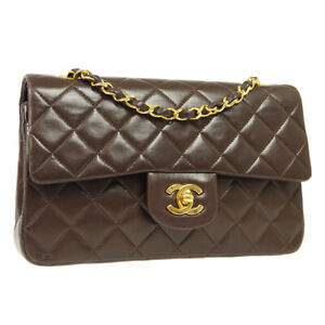 CHANEL Classic Double Flap Small Chain Shoulder Bag 1222931 Brown Leather 41134