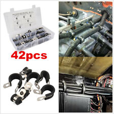 42 pcs Rubber Lined R Clips Stainless Steel Clips Metal Clamp Retaining Hose