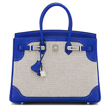 Hermes Blue Sapphire 35cm Ghillies Birkin Criss Cross Toile Limited Edition