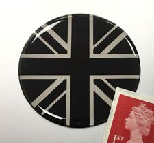 Union Jack Flag Sticker Domed Finish Black & Chrome 50mm Diameter
