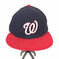 Washington Nationals Blue New Era Baseball Hat Cap Embroidered W Logo Size 7 1/4
