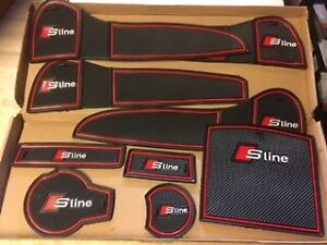 AUDI A4 2013 - 2017 S-LINE INTERIOR DASHBOARD MAT GATE PAD TRIM SET - RED ONLY