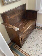 More details for antique oak monks bench settle c1900