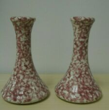 Country Home Collection Pair of Red Stoneware Spongeware Candlesticks