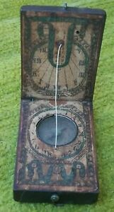 Rare Old Early ANTIQUE WOOD POCKET COMPASS clock SUNDIAL FOLDING 19thc 1800s