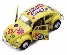 """Kinsmart 5"""" 1967 VW Classic Beetle Peace Decals Diecast 1:32 Volkswagen Yellow"""