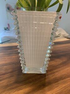 """Baccarat Crystal Rectangular Eye Vase White 8"""" H *BRAND NEW* Retail $750"""
