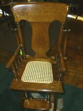Antique High Chair Oak Folding cane seat refinished 1900's with tray cast iron