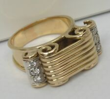 NICE ANTIQUE HEAVY SOLID 14K 585 GOLD 0.40ct 6 DIAMOND RING, 9.3gr. Size 55